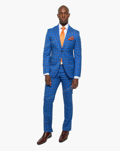 Giovanni Testi 2 Button Peak Lapel Slim Fit Blue and Gold Windowpane Suit GT2P-5766