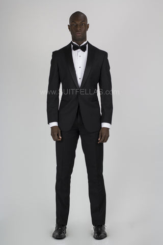 1 Button Peak Lapel Slim Fit Black Tuxedo TX1SP-4030
