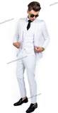 2 Button Notch Lapel White Slim Fit Suit FF2+V-4030