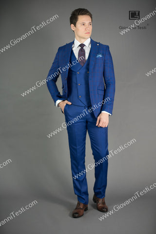Giovanni Testi 2 Button Slim Fit Suit with Peak Lapel GT2P+V-3772 Blue