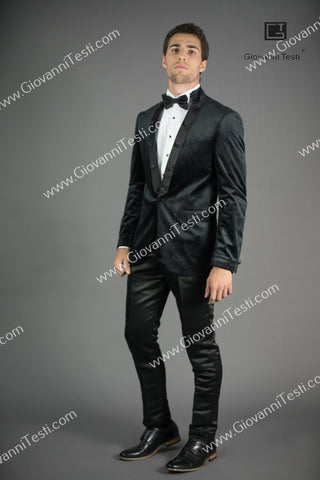 Giovanni Testi  Peak Lapel Slim Fit Black Velvet Jacket GTPI-2597