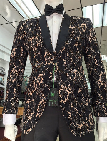 Giovanni Testi Black and Tan Lace Sequin Slim Fit Jacket