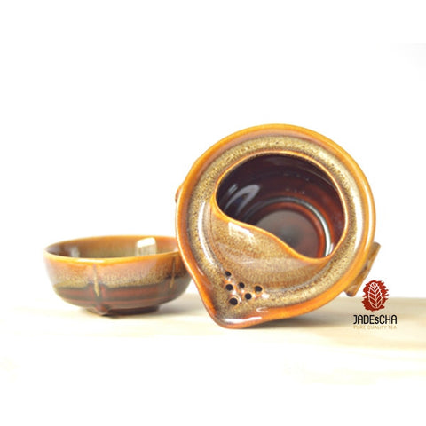Travel Kit - -Flambe Glazed Brown Tea Pot and Tea Cup