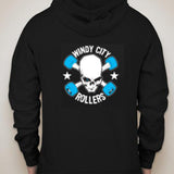 Sleeveless Black Hoodie with the Traditional Windy City Rollers Logo on the back