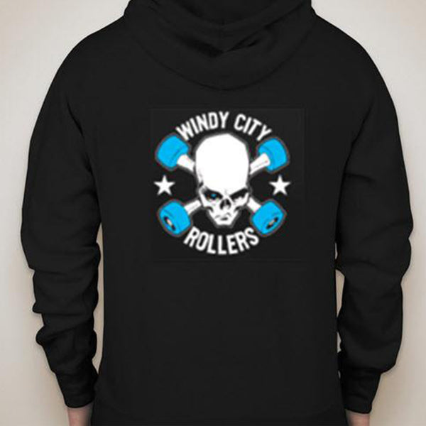 Long Sleeved Black Hoodie with the Traditional Windy City Rollers Logo on the back