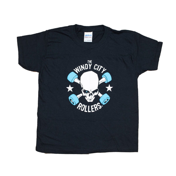 Kids Black T Shirt with Windy City Rollers Traditional Logo