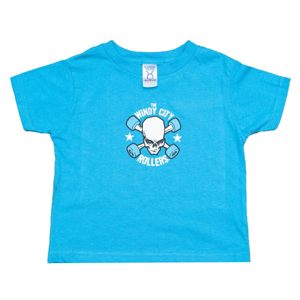Kids Turquoise T Shirt with Windy City Rollers Traditional Logo