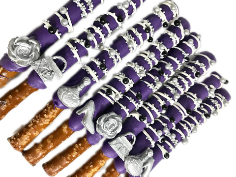 Designer Chocolate Covered Pretzels - Purple and Silver