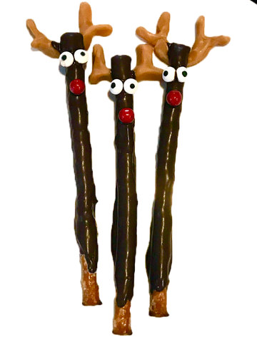 Chocolate Covered Pretzel Sticks, Christmas, Reindeer