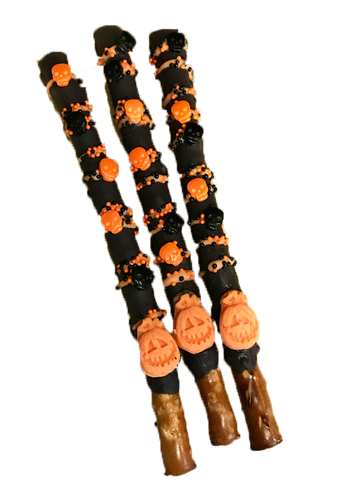 Pumpkin, Halloween, Chocolate Covered Pretzel Sticks, Black and Orange