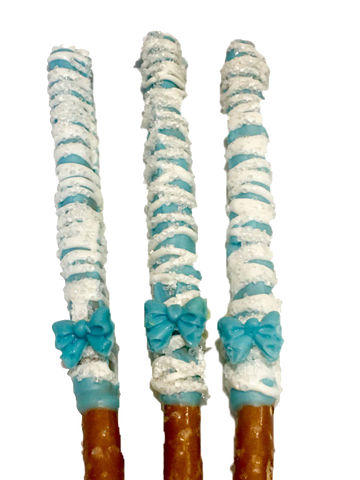 Individually Wrapped Blue or Pink and White Chocolate Covered Pretzel Rods with Bow
