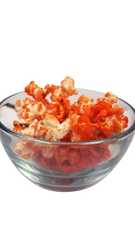 Orange Popcorn in a bowl