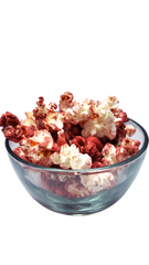 Maroon Popcorn in a bowl