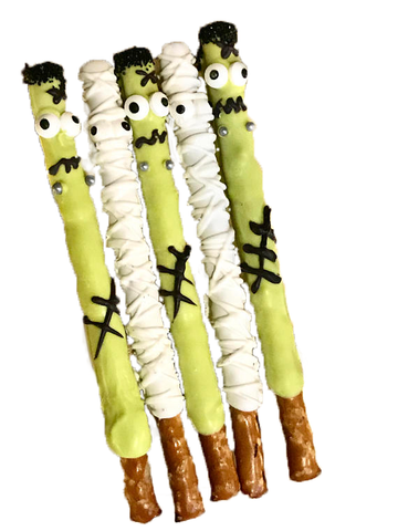Mummy, Frankenstein, Halloween, Chocolate Covered Pretzel Sticks, Monster Mash