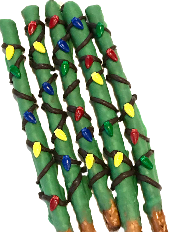 Christmas Pretzel Rods.Chocolate Covered Pretzel Sticks Christmas Story Lights Ugly Sweater