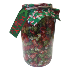 Christmas Colored Green and Red Kettle Corn 1 Gallon Gift Jar