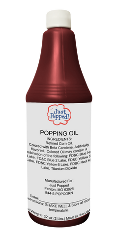 Maroon Colored Popcorn Popping Oil 32 Oz