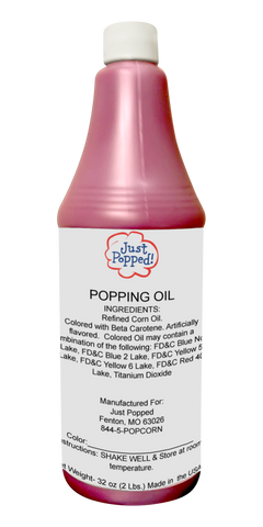 Pink Colored Popcorn Popping Oil 32 Oz