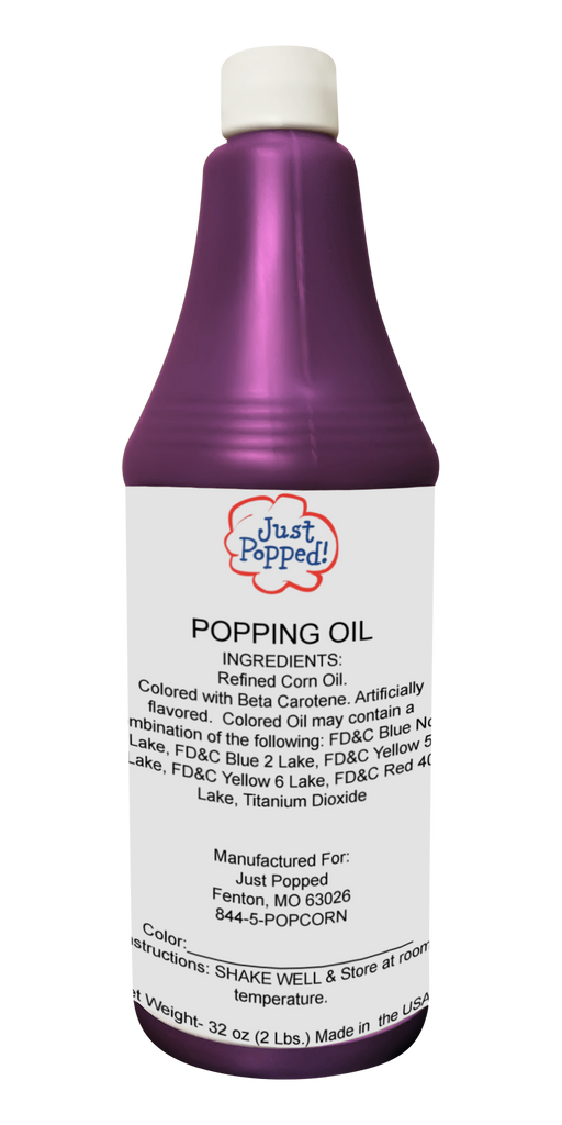 Purple Colored Popcorn Popping Oil 32 Oz