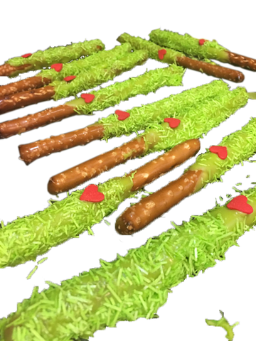 Individually Wrapped Chocolate Covered Grinch Pretzel Rod