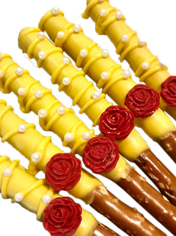 Belle, Beauty, Beast, Chocolate Covered Pretzel Rods