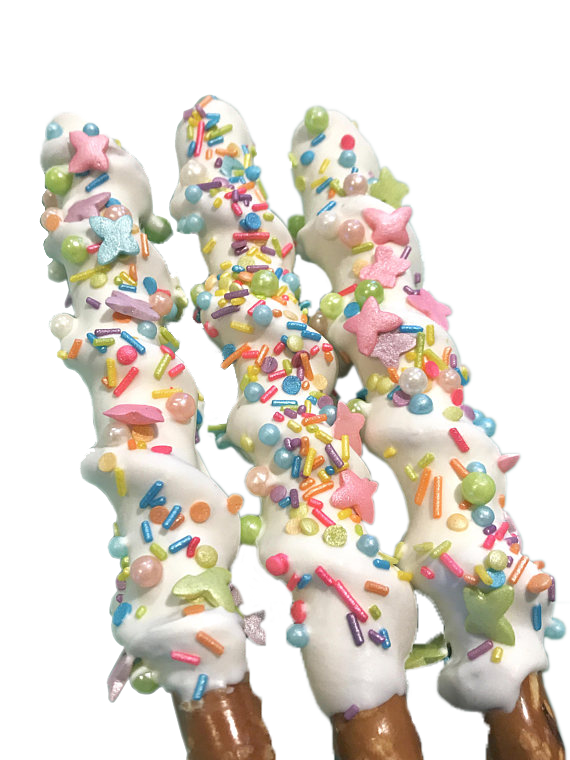 Unicorn Horn Chocolate Covered Pretzel Sticks, Carmel, My Little, Pony