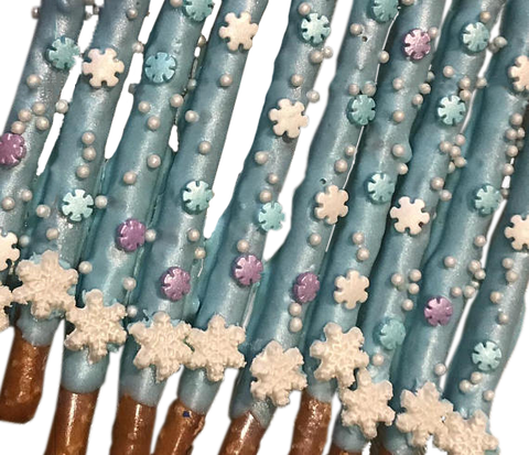 Frozen, Snow Flake, Winter Chocolate Covered Pretzel Sticks, White Christmas