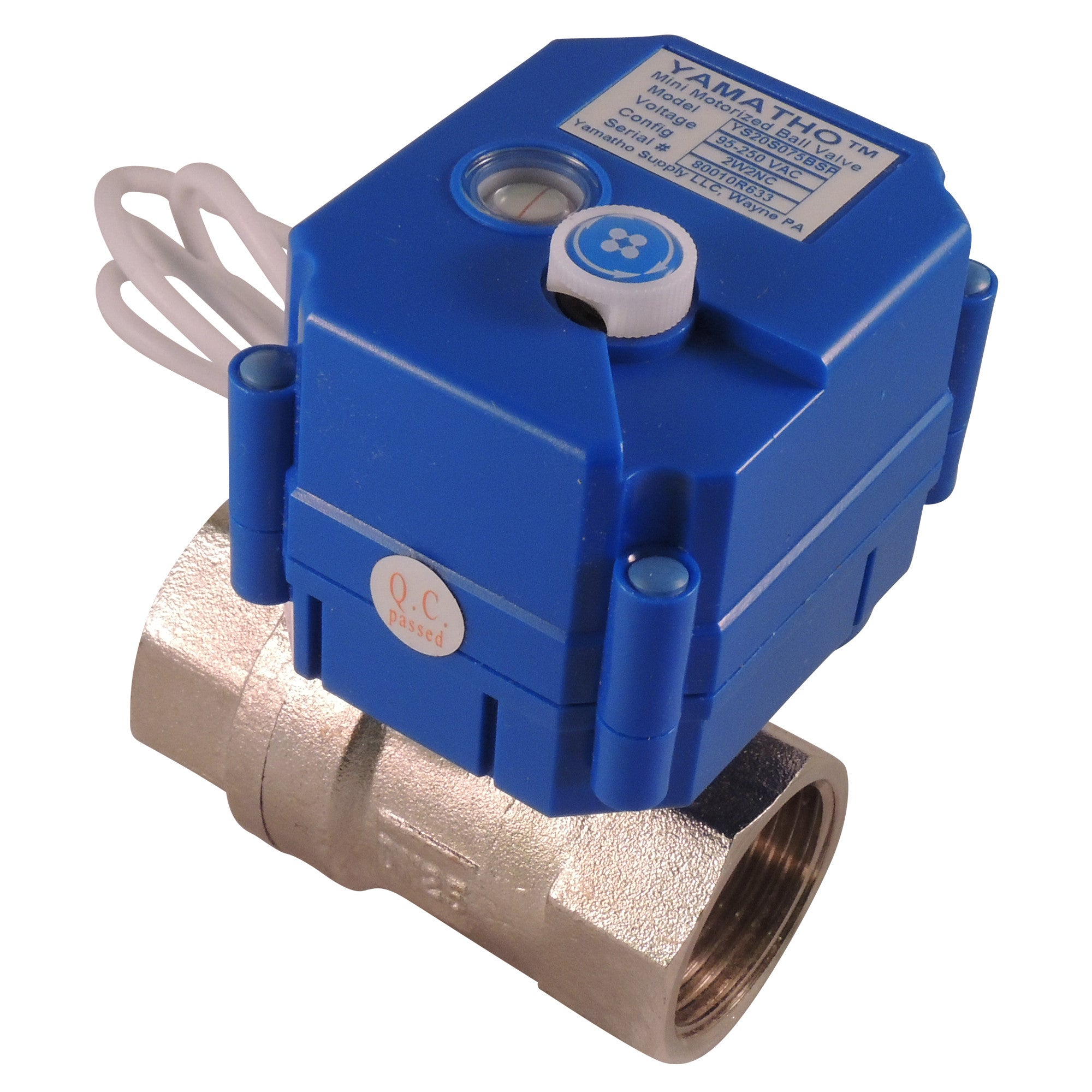 Electric motorized ball valve YS20S, 2 wires actuator 95-250 VAC Normally Open  #yamavalve - Yamatho Supply