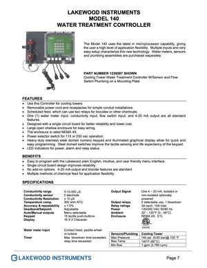 Water electrical conductivity controller for cooling towers Lakewood model 140
