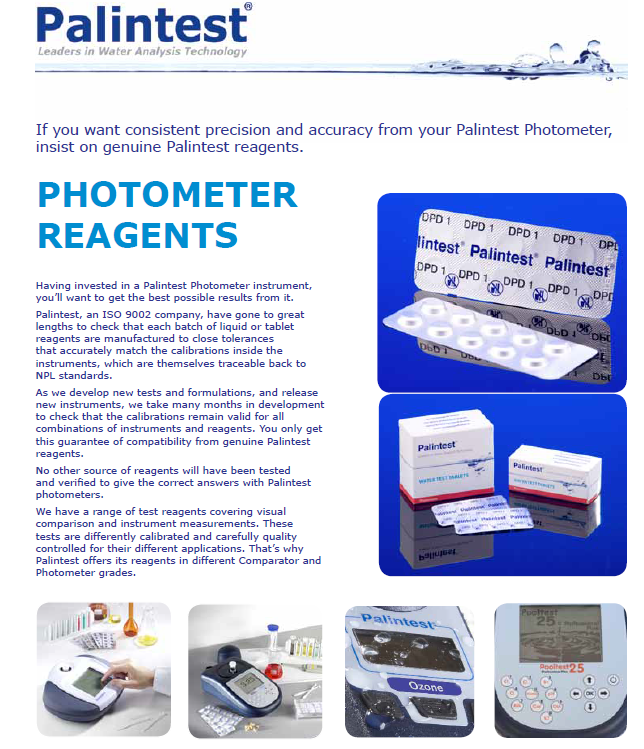 Reagents water test kits for Palintest Photometer (50 tests