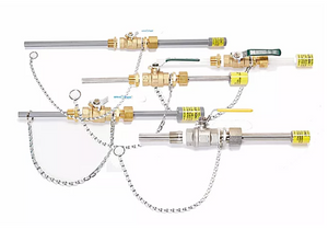 "Corporation Stop - removable chemical injection quill in pressurized lines, sizes 1/2"" to 1"", SS316, PVC, Hastelloy, Kynar, Alloy C20 with and without lead free brass ball valve - Yamatho Supply"