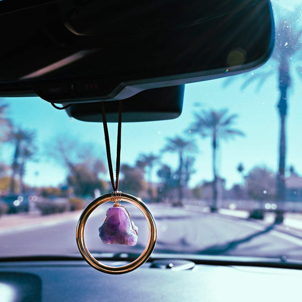 Amethyst Crystal Car Charm