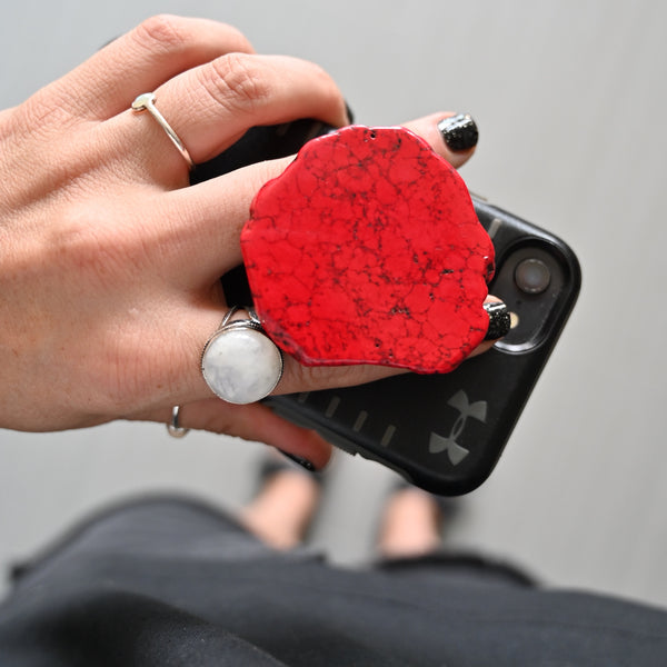 Fire Red Gemstone Pop Socket