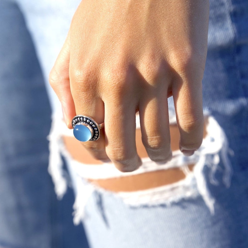 Blue Chalcedony Crystal Ring