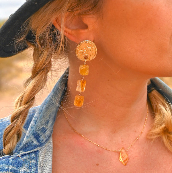 Moon Star Gold Crystal Drop Earring
