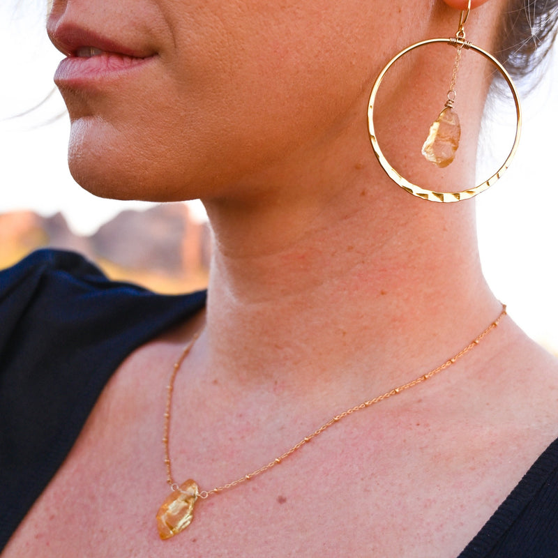 Citrine Hoops + Necklace Gift Set