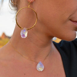 Good Vibes Aura Hoops + Necklace Gift Set