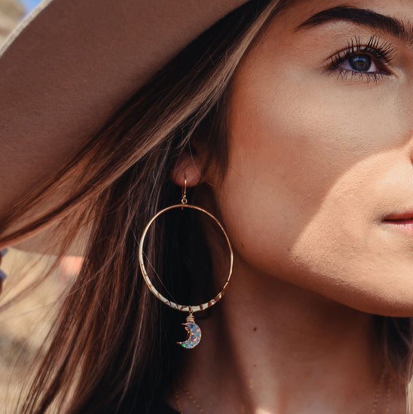 Opal Moon Hoop Earrings