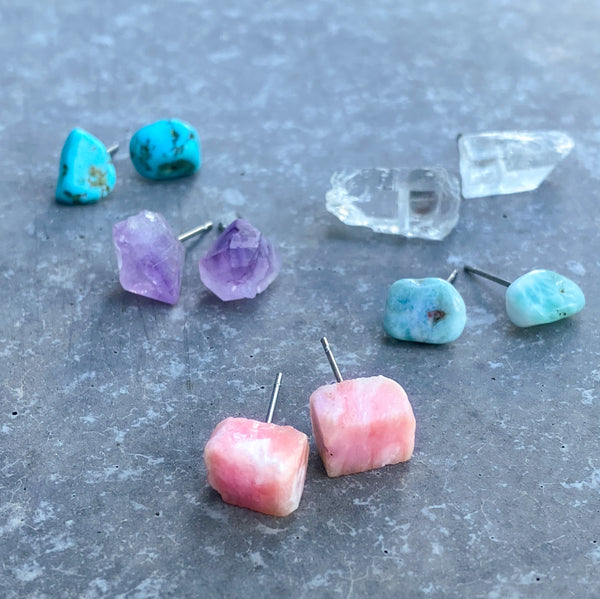 Gemstone Stud Earrings: SET OF 5