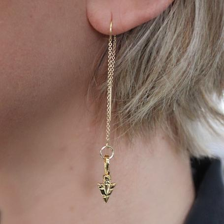 gold arrow dangle earrings