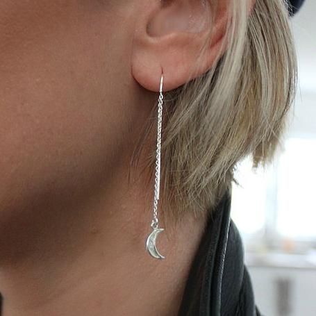 Accessories, Bracelet - Sterling Silver Crescent Moon Earrings