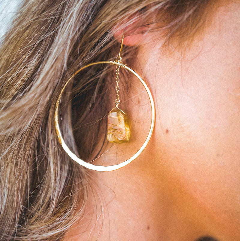 Citrine Crystal Boundary Shield Hoop Earrings