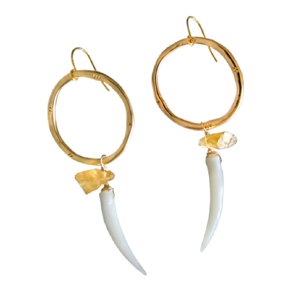 Girl In Charge Citrine Hoop Earrings