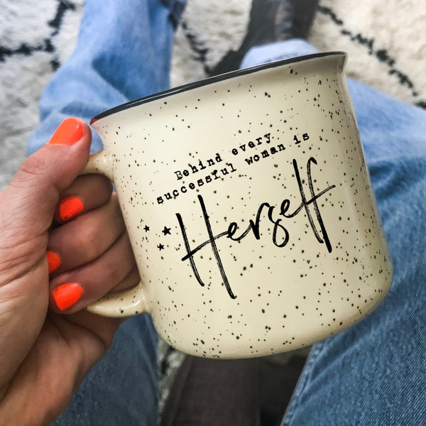 Behind Every Successful Woman Is Herself Camper Mug