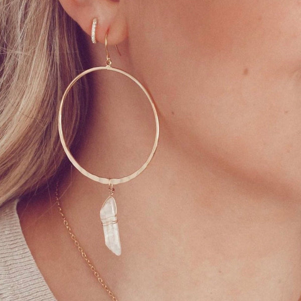The Journey Quartz Hoop Earrings