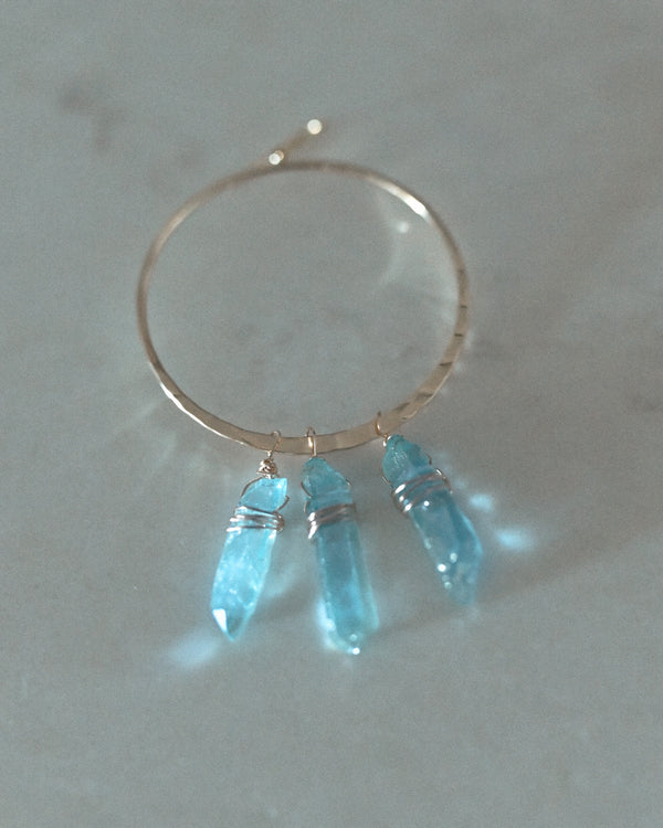 True Girl Aqua Aura Quartz Hoops