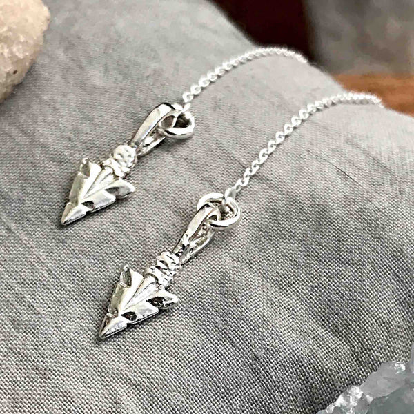 Warrior Spirit Silver Arrowhead Earrings