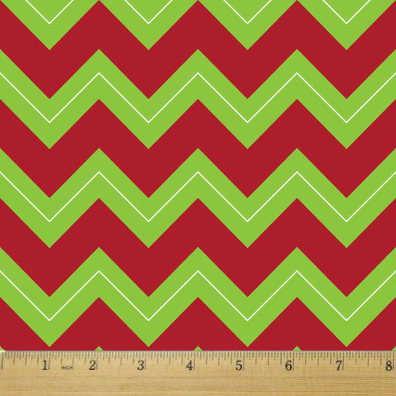 Holiday Chartreuse and Red Chevron Cotton Fabric - RootedUSA