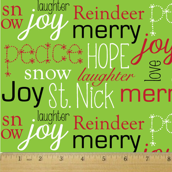 Holiday Chartreuse Wordplay Cotton Fabric - RootedUSA