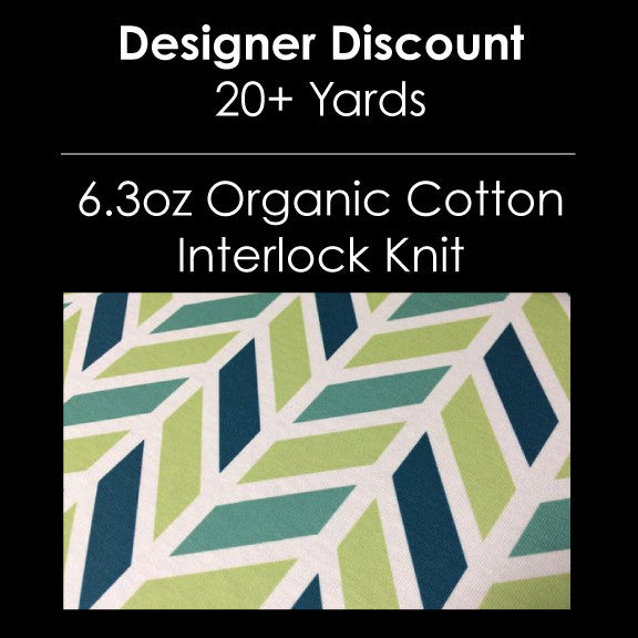 Designer Bulk - 6.3oz Organic Cotton Interlock Knit Custom - 20+ Yards
